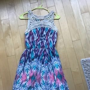 Lily Rose Dresses - Multicolor Maxi Dress With Crochet Detail